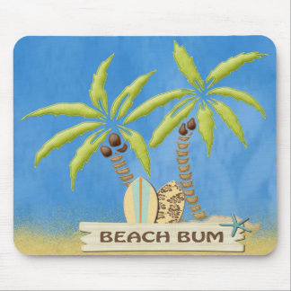 Beach Bum, Surfboards, Palm Trees and Sand Mouse Pad