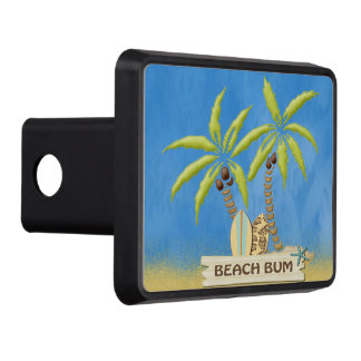 Beach Bum, Surfboards, Palm Trees and Sand Trailer Hitch Cover