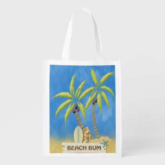 Beach Bum, Surfboards, Palm Trees and Sand Reusable Grocery Bag