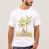 Beach Bum, Surfboards, Palm Trees and Sand T-Shirt