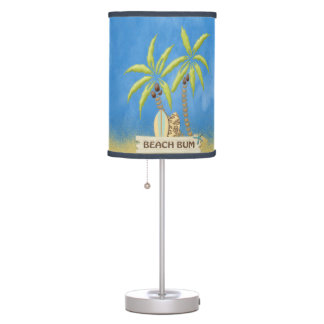 Beach Bum, Surfboards, Palm Trees and Sand Table Lamp