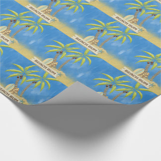 Beach Bum, Surfboards, Palm Trees and Sand Wrapping Paper