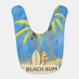Beach Bum, Surfboards, Palm Trees and Sand Baby Bibs
