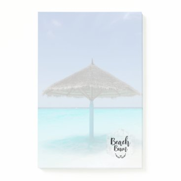 Beach Themed Beach Bum Typography - Umbrella on Tropical Beach Post-it Notes