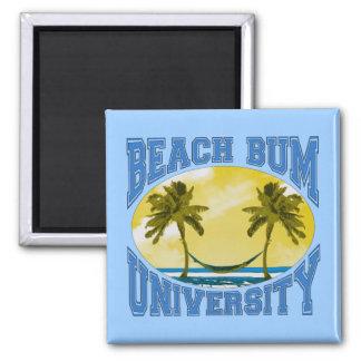 Beach Bum University 2 Inch Square Magnet
