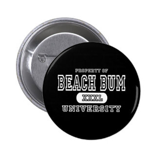 Beach Bum University Dark Pinback Button