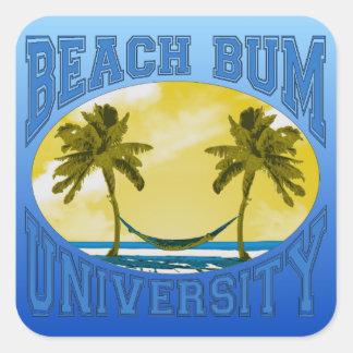Beach Bum University Square Sticker