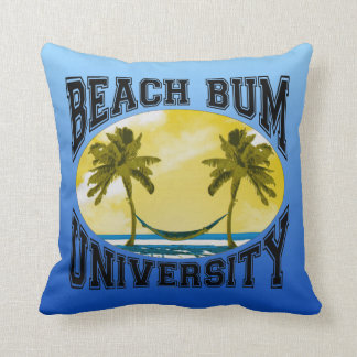 Beach Bum University Throw Pillow