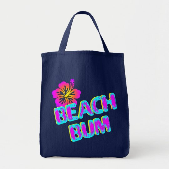 Beach Bum with Hibiscus Flower Canvas Tote
