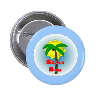 Beach Bum with Palm Tree Pinback Button