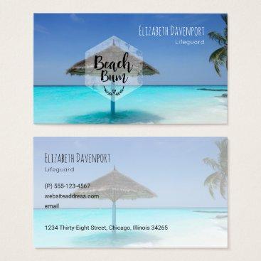 Beach Themed Beach Bum with Thatched Beach Umbrella Business Card
