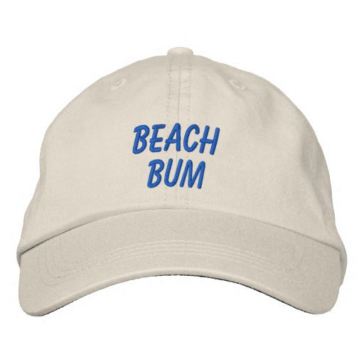 Beach Bum Words or Custom Wording Summer Embroidered Baseball Cap