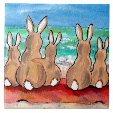 """Beach Themed Beach Bunnies Family on Blanket 6"""" Tile Trivet"""