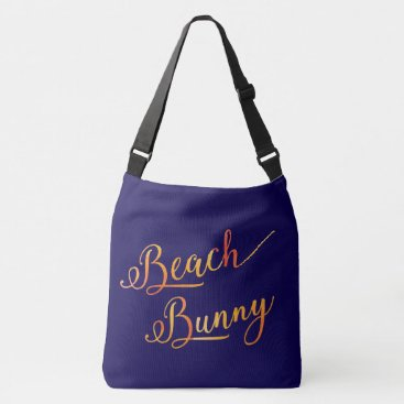 Beach Themed Beach Bunny Stylized Peach Color Tropical Vacation Crossbody Bag