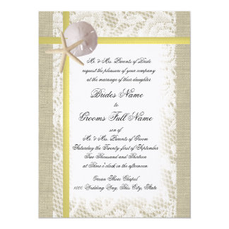 Beach Burlap and Lace Yellow Wedding Card