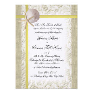 Beach Burlap and Lace Yellow Wedding Announcement
