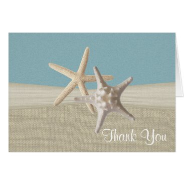 Beach Themed Beach Burlap and Starfish Sky Blue Thank You Card