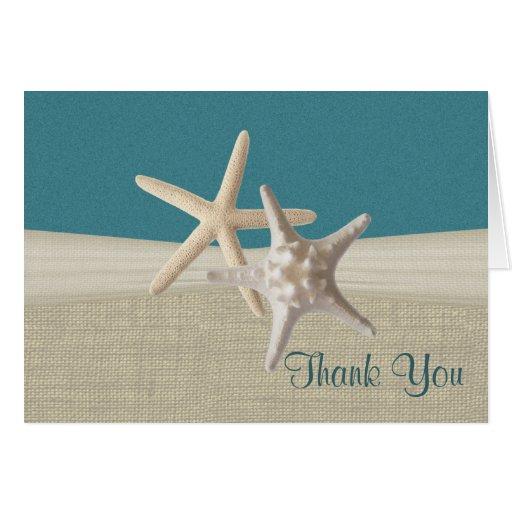 Beach Burlap and Starfish Teal Thank You Card