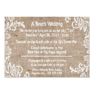 Beach Burlap & Lace - Wedding Invitation