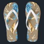 """Beach Burlap Seashell Nautical Starfish   Seahorse Flip Flops<br><div class=""""desc"""">Beach Burlap & Seashell Nautical Starfish   Seahorse Flip Flops - features a printed burlap background with seahorses,  coral,  seashells and starfish.  Perfect for weddings,  bridal shower gifts,  holidays and more.</div>"""