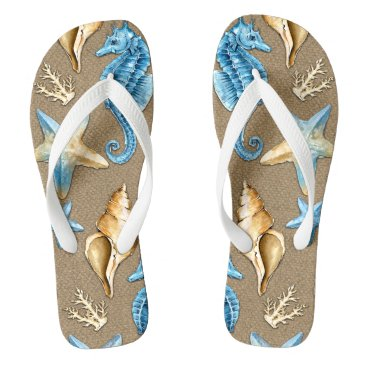 Beach Themed Beach Burlap Seashell Nautical Starfish   Seahorse Flip Flops