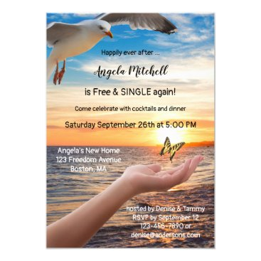 Beach Butterfly Freedom Divorce Party Invitation