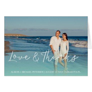 Beach Themed Beach by the sea wedding thank you script photo card
