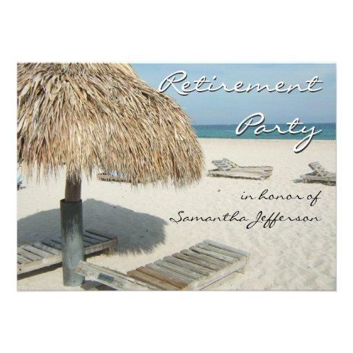 Beach Cabana Scene Retirement Party Invitations