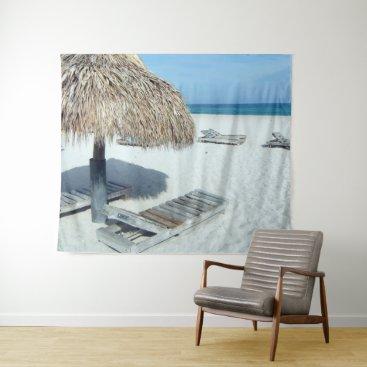 Beach Cabana Tropical Scenic Art Tapestry