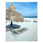 Beach Cabana, White Sand w/Aqua Water Vacation Photo Print
