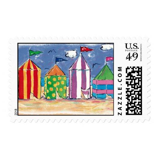 Beach Cabanas postage stamps
