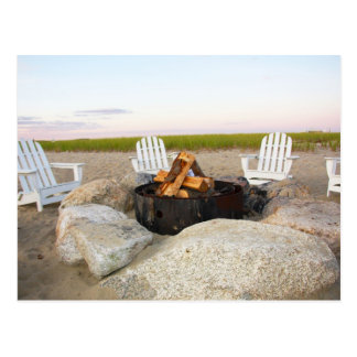 Beach Campfire  At Dusk Cape Cod Postcard