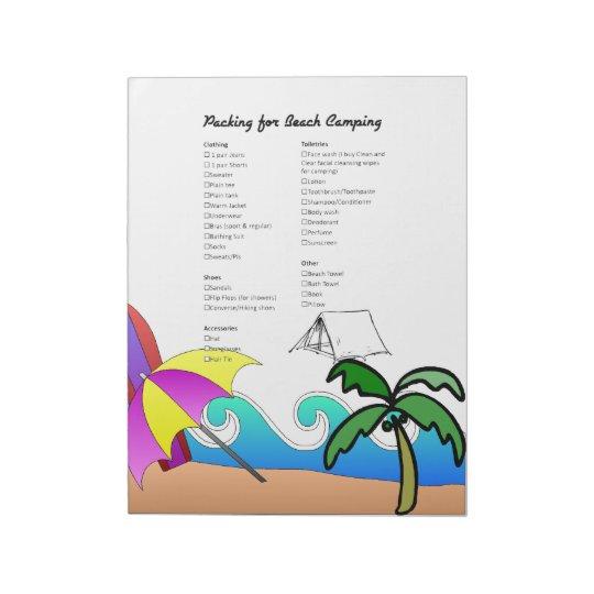 Beach Camping Checklist Notepad