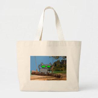Beach Cat On A Log Swing Canvas Bags