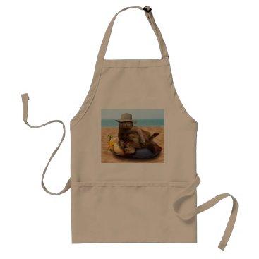 Beach Themed Beach cat - summercat - grey cat - kitten cat adult apron