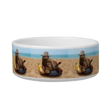 Beach Themed Beach cat - summercat - grey cat - kitten cat bowl