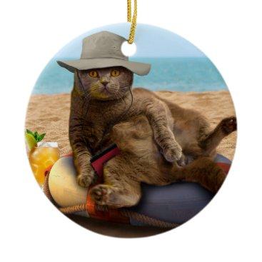 Beach Themed Beach cat - summercat - grey cat - kitten cat ceramic ornament