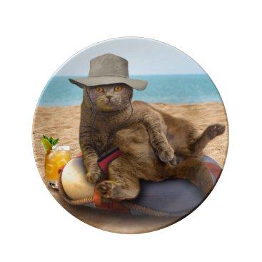 Beach Themed Beach cat - summercat - grey cat - kitten cat dinner plate