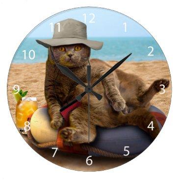 Beach Themed Beach cat - summercat - grey cat - kitten cat large clock