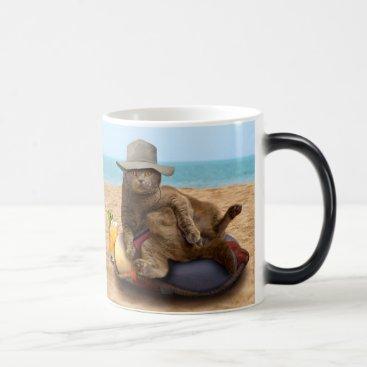 Beach Themed Beach cat - summercat - grey cat - kitten cat magic mug