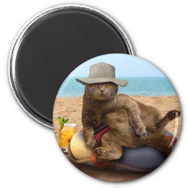Beach Themed Beach cat - summercat - grey cat - kitten cat magnet