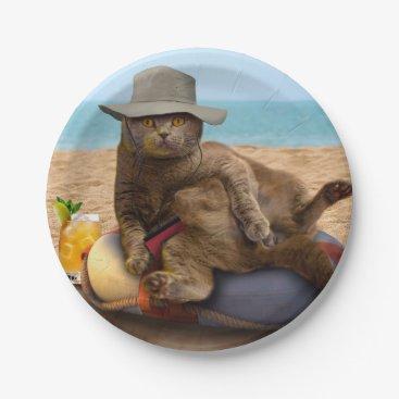 Beach Themed Beach cat - summercat - grey cat - kitten cat paper plate