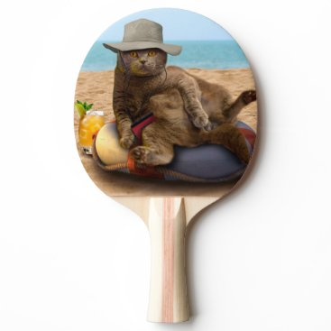 Beach Themed Beach cat - summercat - grey cat - kitten cat Ping-Pong paddle