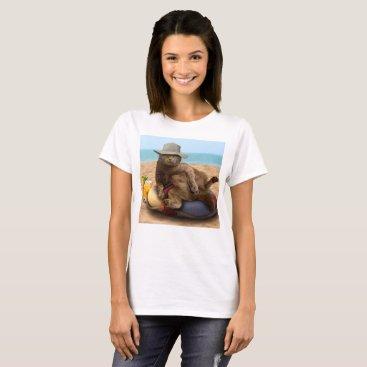 Beach Themed Beach cat - summercat - grey cat - kitten cat T-Shirt