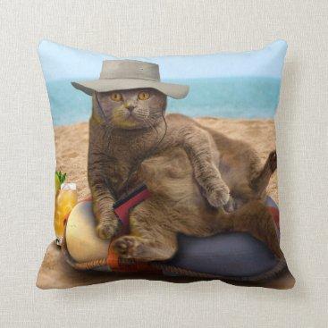 Beach Themed Beach cat - summercat - grey cat - kitten cat throw pillow