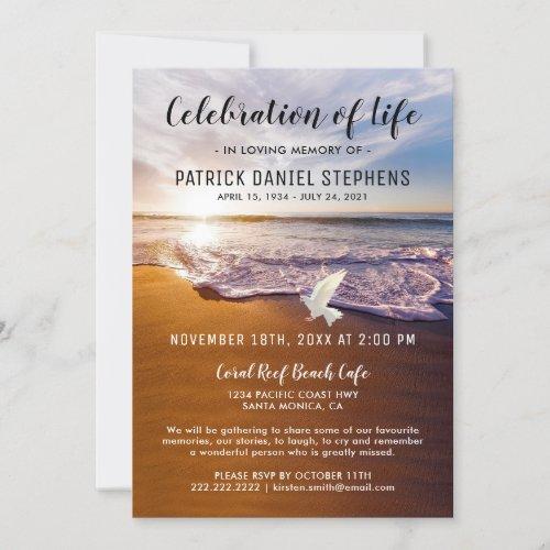 Beach Celebration of Life Funeral Invitation