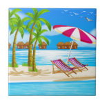 "Beach Ceramic Tile<br><div class=""desc"">Illustration of beach view with cottages</div>"