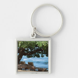 Beach Chair 2 Silver-Colored Square Keychain