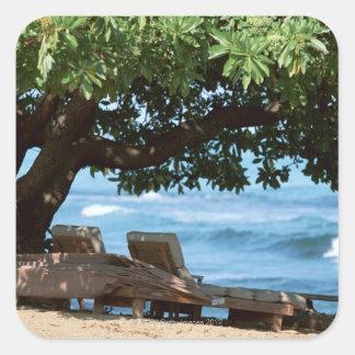 Beach Chair 2 Square Sticker
