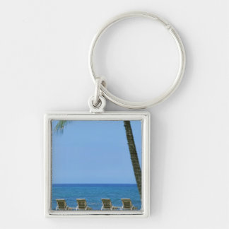 Beach Chair 3 Silver-Colored Square Keychain